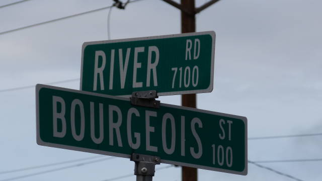 Amarillo, Texas street sign (River Road at Bourgeois         Street)