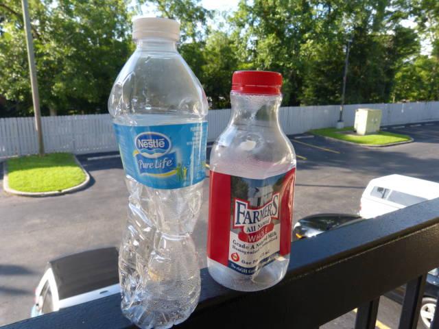 Plastic bottles, sealed at elevation of 7000 feet.